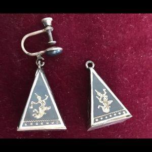 Made in Siam Sterling Silver & Enamel earring